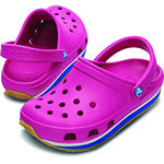 Kids' Retro Clog fuchsia and sea blue