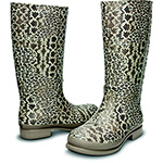 Crocs Wellie Leopard Print Boot graphite and sand dune
