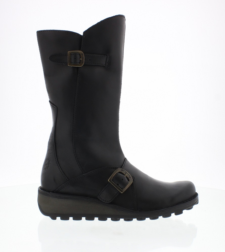 b300ef25a Mes black leather women's boots from Fly London online at Shoes2u.