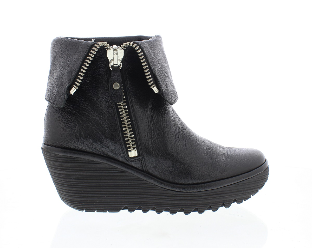 Fly London Yex leather black boots in black, worn as ankle boot or roll up  for calf length size Eu 41