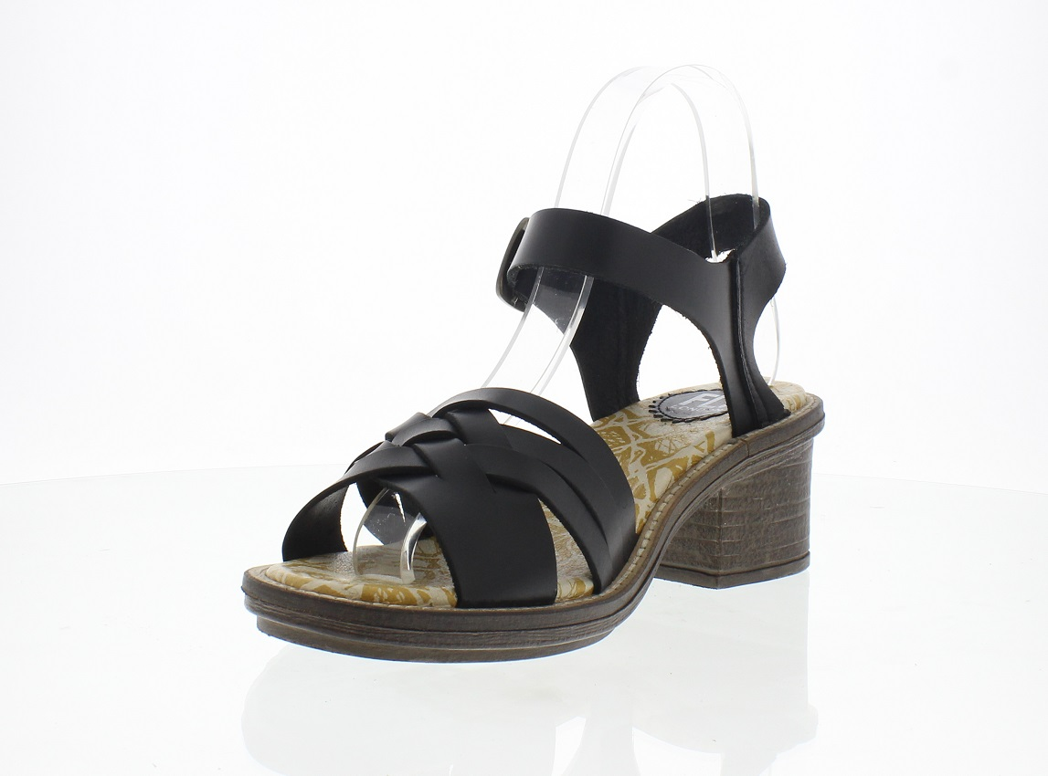 Fly London Cynt black leather sandals with heel Eu 37