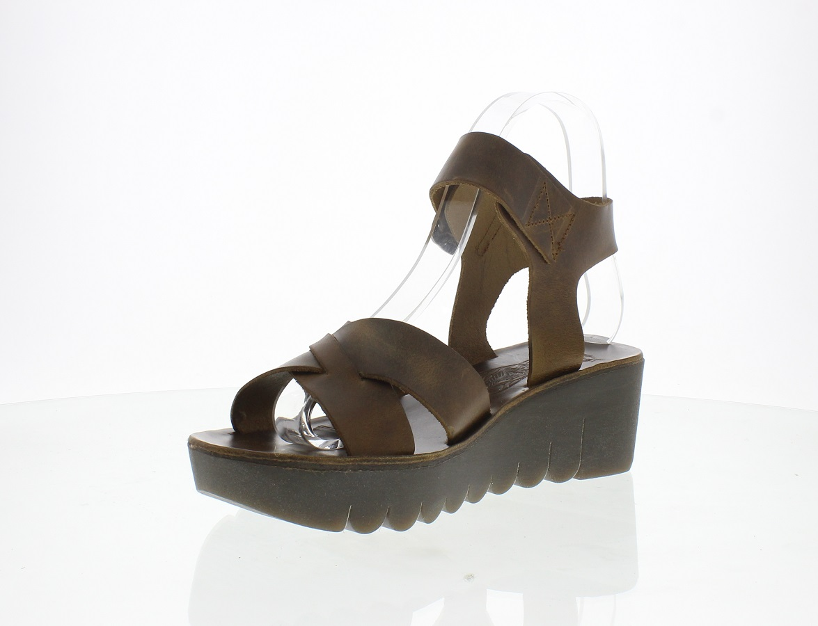 Fly London Yeri leather camel open-toed sandal wedge heel