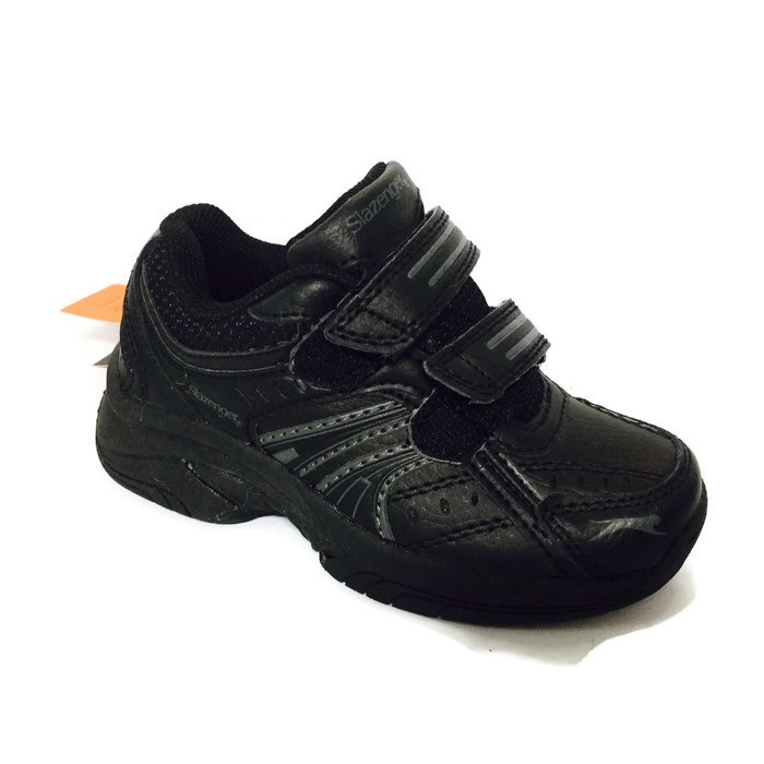 Slazenger Baseline black leather trainers (infant sizes) UK 9