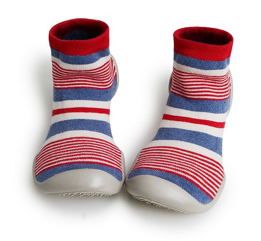 Collegien red, blue, white striped French-made slipper socks for kids