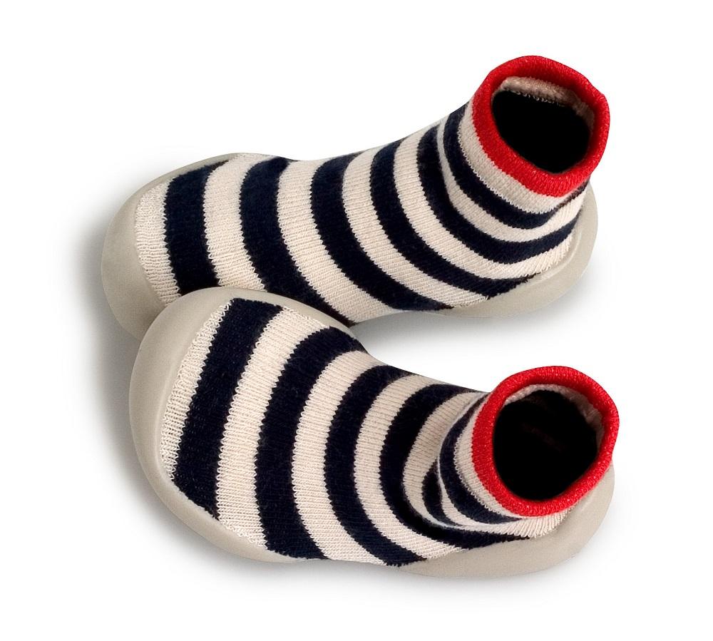 Collegien striped blue/white French-made slipper socks