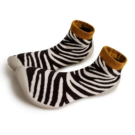 Collegien Zebra-striped French-made slipper socks for children